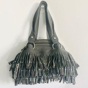 B. Makowsky Gray Leather Purse Fringe & Studs